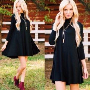 Black Turtleneck Knit Shift Dress